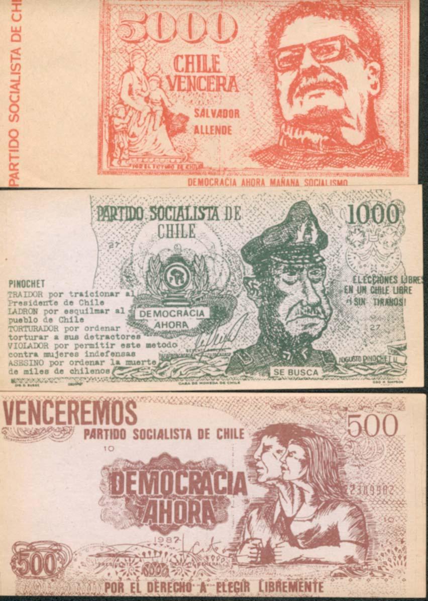 Resultado de imagen para la imitación de los billetes de 500, 1000 y 5000 mil pesos, con un mensaje anti dictatorial al reverso,